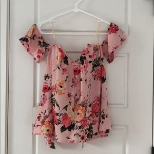 Off the shoulder floral top with open back